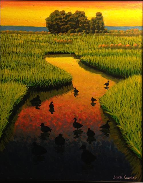 Sunset Evening Ducks by Jack Gunter